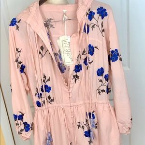 Free People Pink/Rose Jumper with Hoodie Xs/Sm